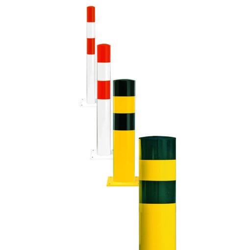 Rambeveiligingspaal geel-zwart om in te betonneren