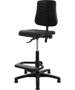 Werkstoel PUR met spinvoet en voetsteun aluminium