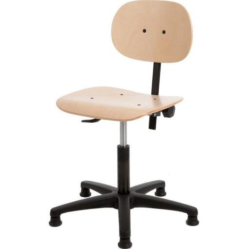 Werkstoel hout met spinvoet kunststof