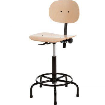 Werkstoel hout met spinvoet