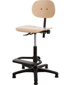 Werkstoel hout met voetsteun