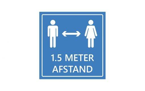 Vloersticker advies 1.5 meter afstand houden - blauw