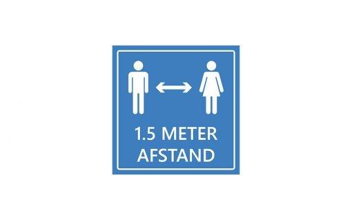 Raamsticker advies 1.5 meter afstand houden - blauw