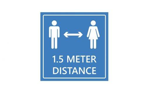 1.5 meter distance asfaltsticker blauw