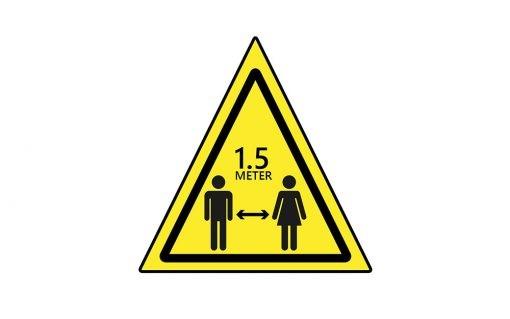 1.5 meter afstand houden asfaltsticker driehoek