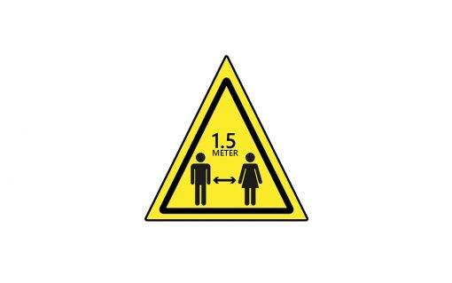 Raamsticker waarschuwing 1.5 meter afstand houden - driehoek