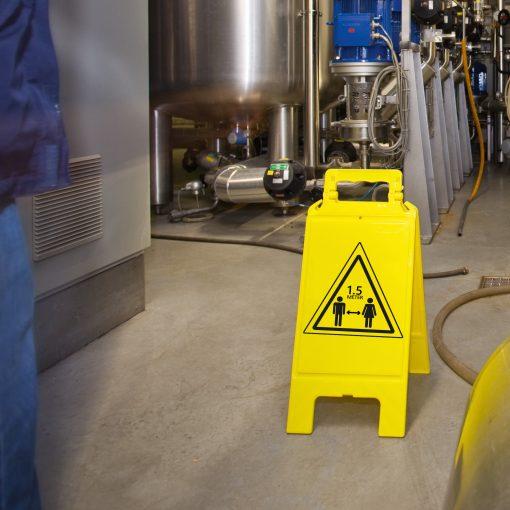 Uitklapbaar waarschuwingsbord 1.5 meter afstand houden