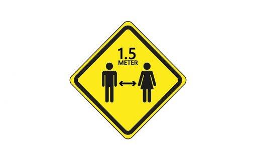 Vloersticker waarschuwing 1.5 meter afstand houden - ruit