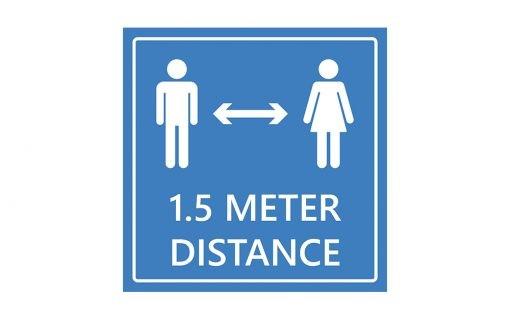 Adviesbord 1.5 meter distance - blauw