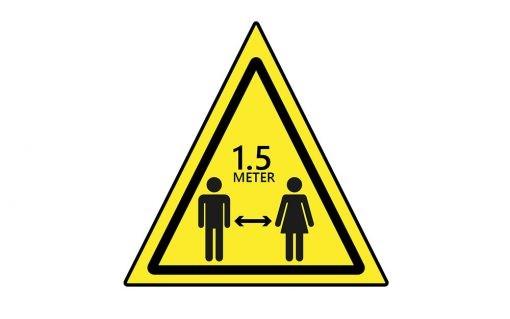 Waarschuwingsbord 1.5 meter afstand houden - driehoek