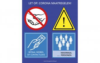 Coronabord 1.5 meter pinnen en maximaal aantal personen