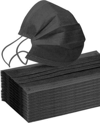 Mondmasker 3 laags met elastiek zwart - 50 stuks