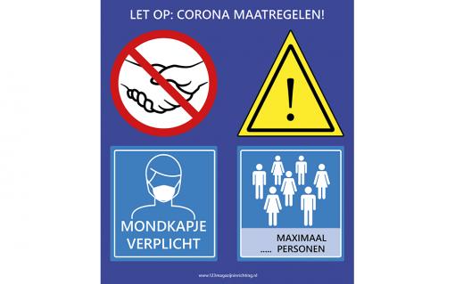 Preventiebord mondmasker verplicht & maximum aantal personen